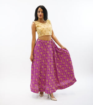 Silk Purple Brocade Lehenga Skirt