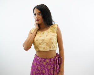 Silk Embroidered Mellow Gold Crop Top