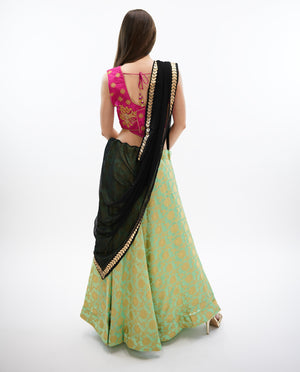 Silk Sage Green Brocade Lehenga Skirt