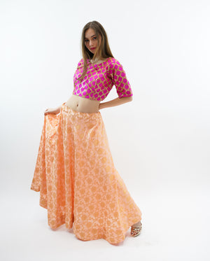 Silk Light Peach Brocade Lehenga Skirt