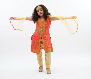 Silk Salamander Orange Embroidered Girl's Salwar Suit