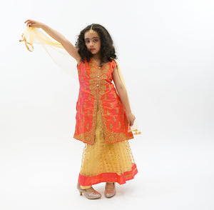 Silk Gold With Salamander Orange Trim Lehenga Skirt