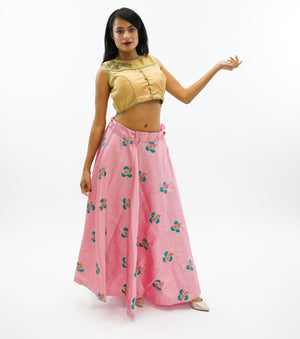 Silk Embroidered Coral Pink Lehenga Skirt