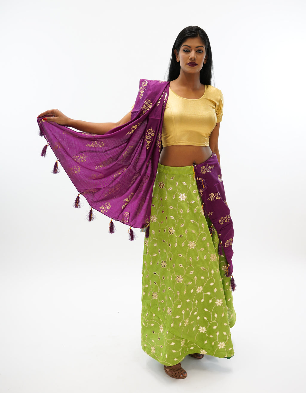 Silk Gotta Patti Work Light Olive Green Lehenga Skirt