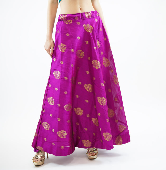 Silk Ultra Pink  Brocade Lehenga Skirt