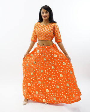 Silk Salamander Orange Gotta Patti Work Lehenga Skirt