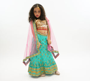 Silk and Net Embroidered Jungle Green And Sunny Pink Children Lehenga
