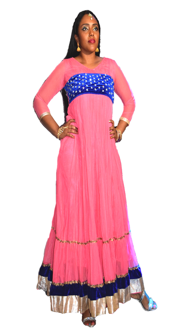 Formal Bubblegum Pink and Royal Blue Anarkali