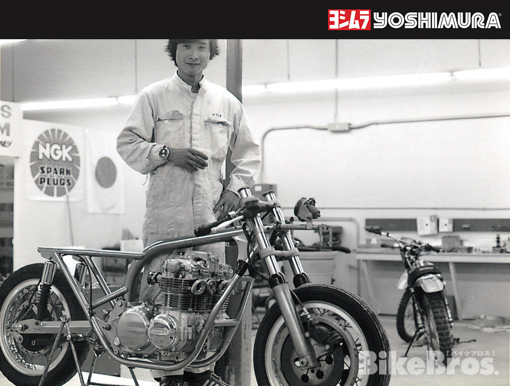 Here, Fujio stands in his Southern California workshop next to a CB500 racer, built around a frame designed by racer/journalist Tony Murphy.