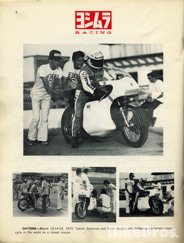 Kawasaki speed challenge at Daytona Speedway, March 1973. The fully faired Z1 ridden by Yvon Duhamel was fitted with a Yoshimura-tuned engine, and Fujio supported the event as a mechanic.