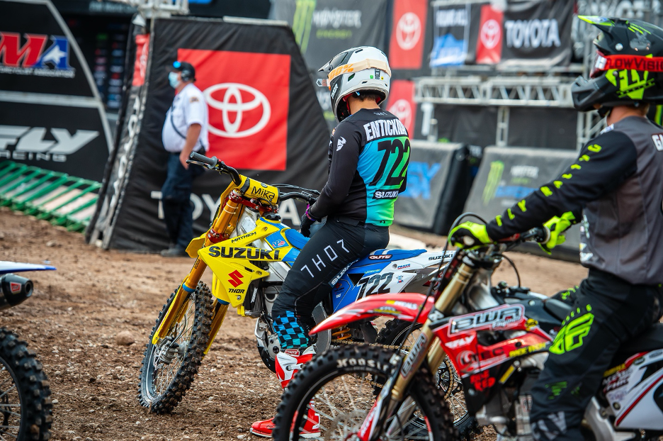 Adam Enticknap (#722) waits to be called to the line in Heat 1 at 2020 SLC SX