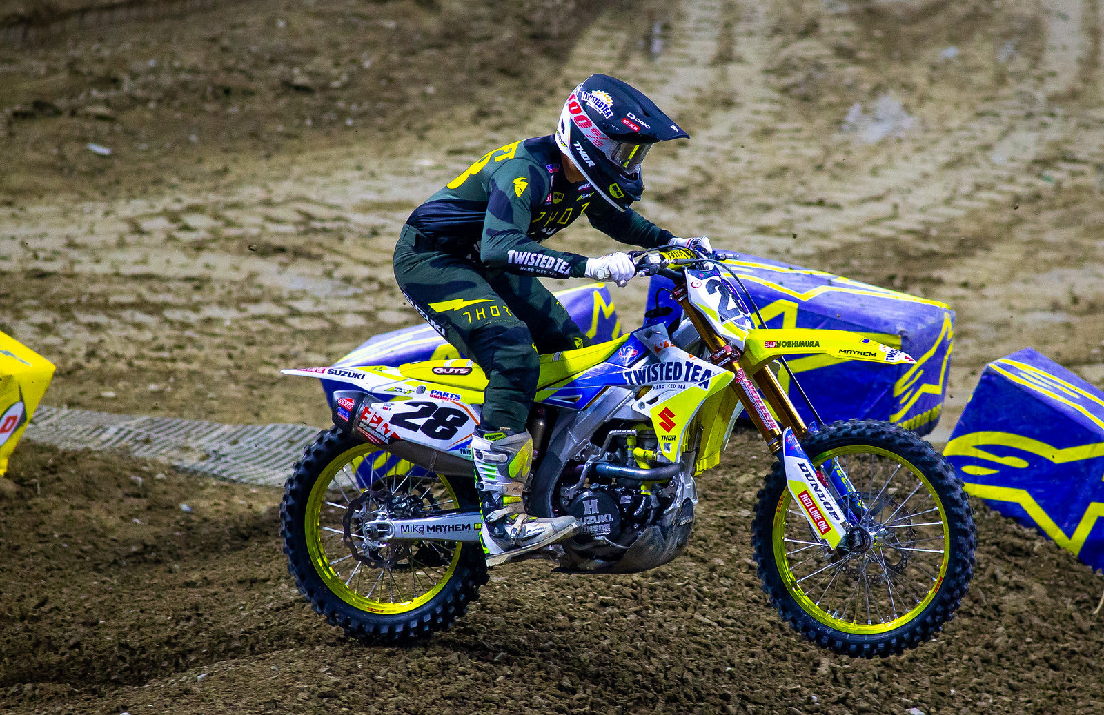 Brandon Hartranft (#28) charges the whoops on his RM-z 450 Suzuki.
