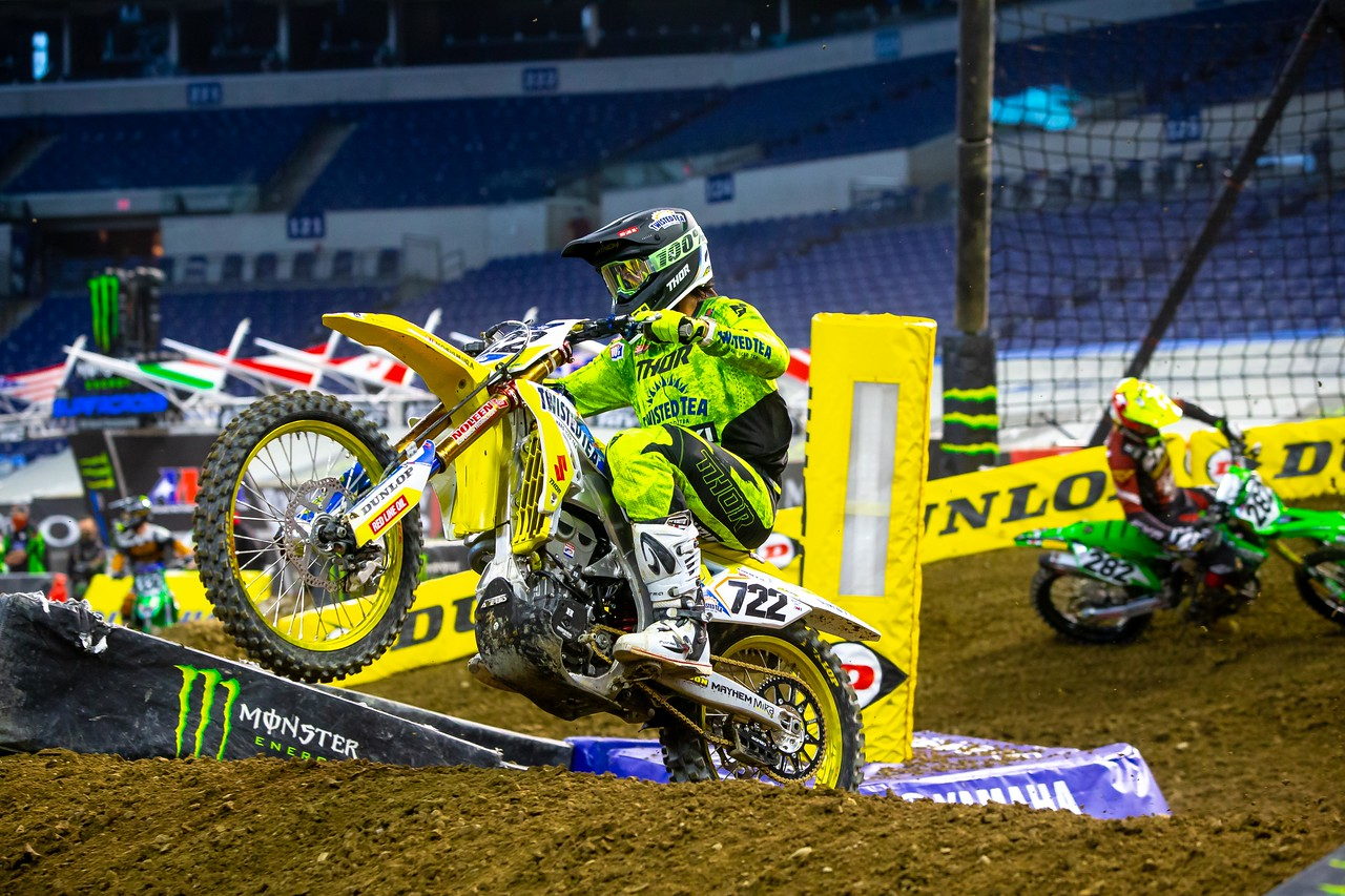 """<div style=""""text-align: center;""""><em>Adam Enticknap (#722) finishes 20th overall in the 450cc premiere class.</em></div> <div style=""""text-align: center;""""></div>"""