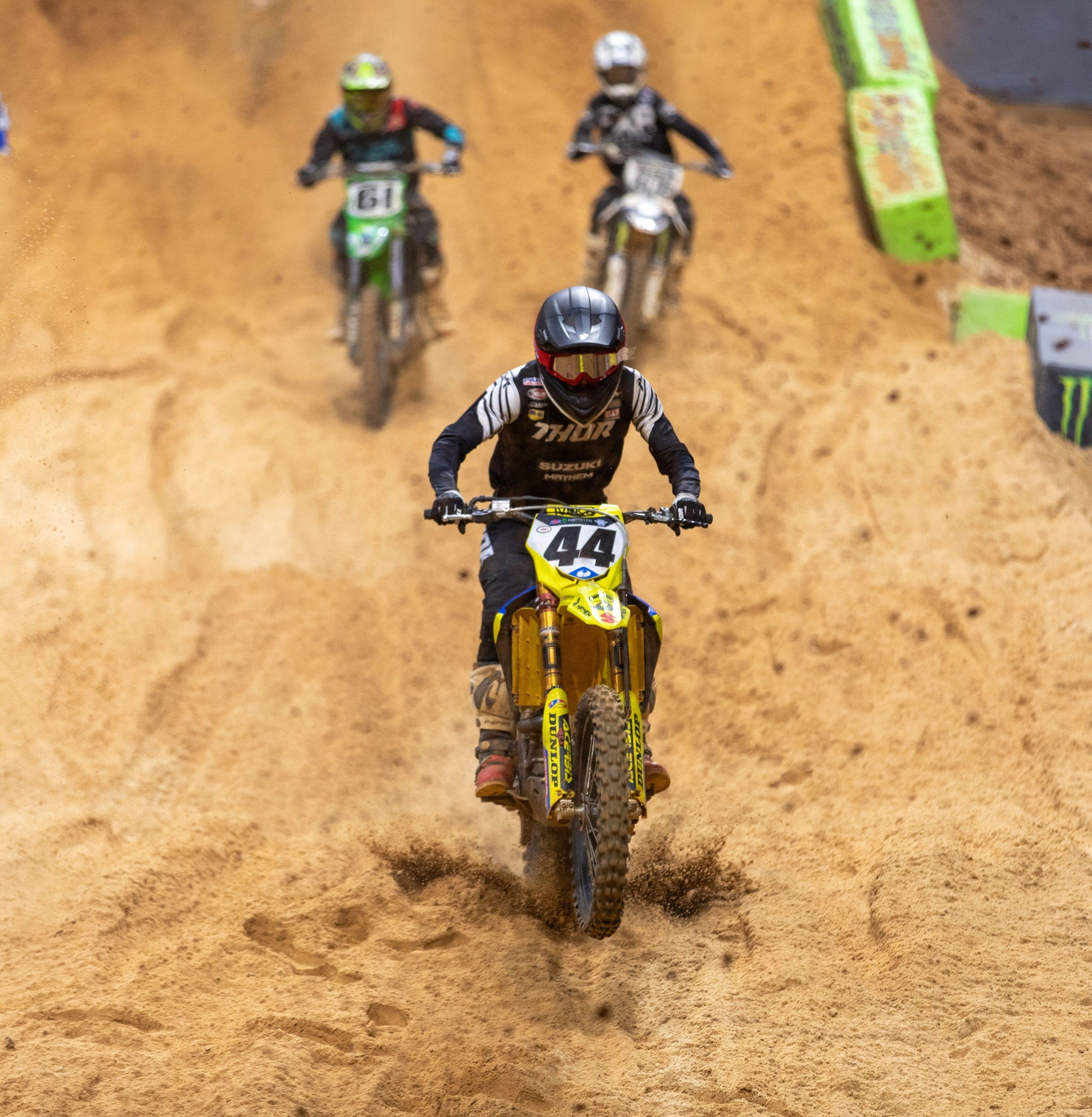 Kyle Cunningham (#44) goes down chasing his best result this year in Atlanta