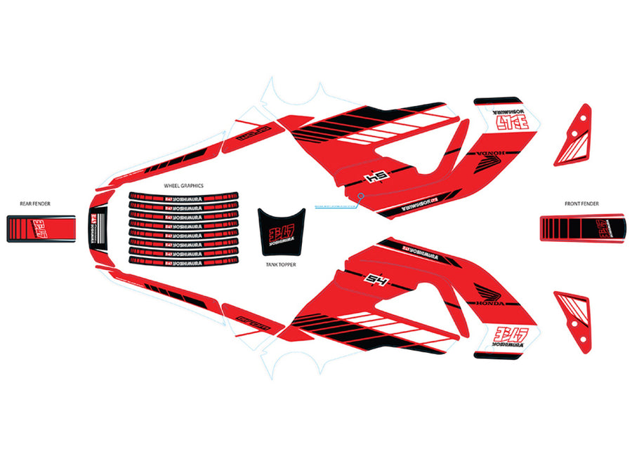 HONDA GROM 2014-15 Yoshimura Graphics Kit Red