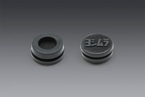 RUBBER GROMMET WITH LOGO TO COVER END-CAP INSERT HOLE FOR MOST MUFFLERS