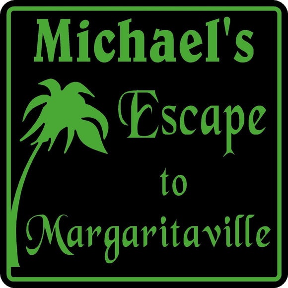 Personalized Name Escape to Margaritaville Parrothead Tropical Bar Sign 2