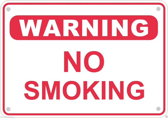 Warning No Smoking Sign Safety Security Business Aluminum Metal 10