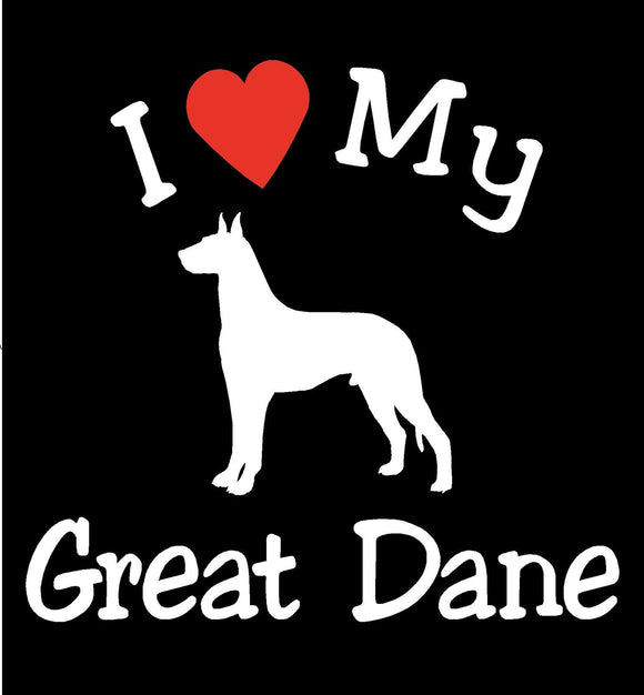 NEW I LOVE MY DOG GREAT DANE PET CAR DECALS STICKERS GIFT
