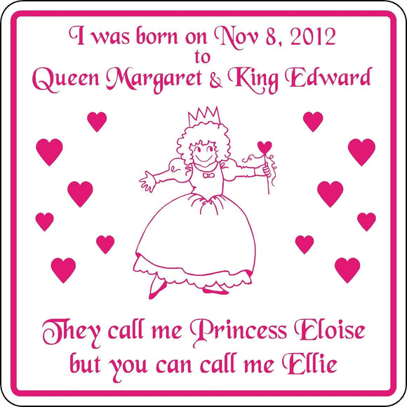 New Personalized Custom Name Princess Sign Birth Announcement Girl Room Birthday