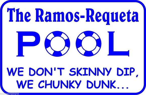 Personalized Custom Name Chunky Dunk Swimming Pool Metal Sign #2 Free Shipping