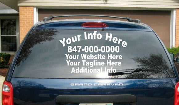 (1) 5 Line Back (2) 5 Line Side Truck Car Vehicle Custom Vinyl Lettering Decal