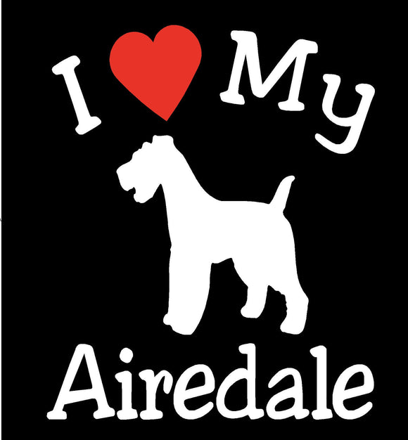 NEW I LOVE MY DOG AIREDALE PET CAR DECALS STICKERS GIFT