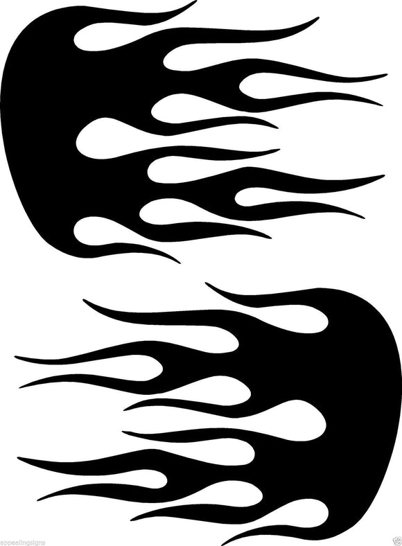 (2) Vinyl Vehicle Graphics Decals Stickers Flames # 2 Custom Auto Truck Colors