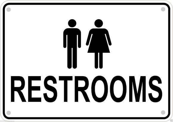 Men Women Unisex Restroom Sign Business Retail Aluminum 10