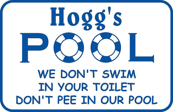 Personalized Custom Name Swimming Pool Sign Don't Pee inl Metal # 7 Free Ship