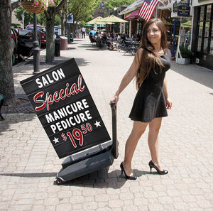 Rolling Springer Deluxe Changeable Letters Sidewalk Message Board Sign Black