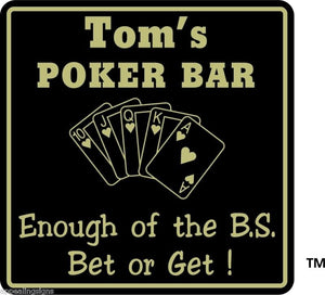 New Personalized Custom Name Poker Game Room Bar Beer Cards Holdem Gift Sign #14