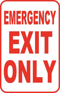 "Emergency Exit Custom Sign Large 12"" x 18"" Aluminum Metal Road"