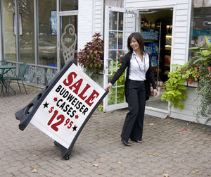 QLA Deluxe Changeable A-Frame Message Sidewalk Sign Street Road Curb White