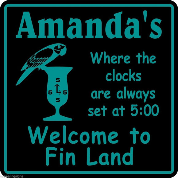 Personalized Custom Name Parrothead Welcome To Fin Land Bar Beer Beach Sign