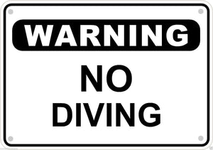 "Warning No Diving Sign Safety Security Swimming Pool Metal Aluminum 10"" x 7"" # 5"