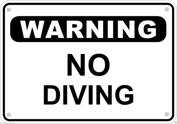 Warning No Diving Sign Safety Security Swimming Pool Metal Aluminum 10