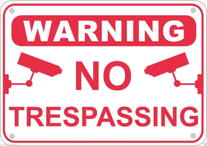 No Trespassing Video Surveillance Warning Sign Aluminum Home Business Security