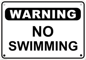"Warning No Swimming Pool Sign Safety Security Lake Metal Aluminum 10"" x 7"" # 6"