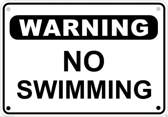 Warning No Swimming Pool Sign Safety Security Lake Metal Aluminum 10