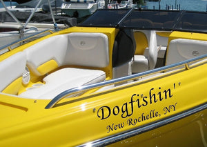 Custom Speed Boat Name & Port of Call  Vinyl Lettering Letters  Decal Sticker