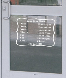"Custom Retail Business Store Hours Decal Vinyl Lettering Sign 13.5""h x 18""w"