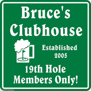 New Personalized Custom Name Golf Golfing 19th Hole Clubhouse Gift Bar Sign #2