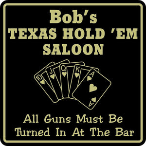 New Personalized Custom Name Texas Hode Em Sign Bar Beer Cards Holdem Gift  #5