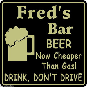 New Personalized Custom Name Beer Cheaper Than Gas Bar Beer Pub Gift Sign #29