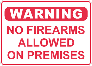 "Warning No Firearms Allowed Sign Security Business Aluminum Metal 14"" x 10"" #26"