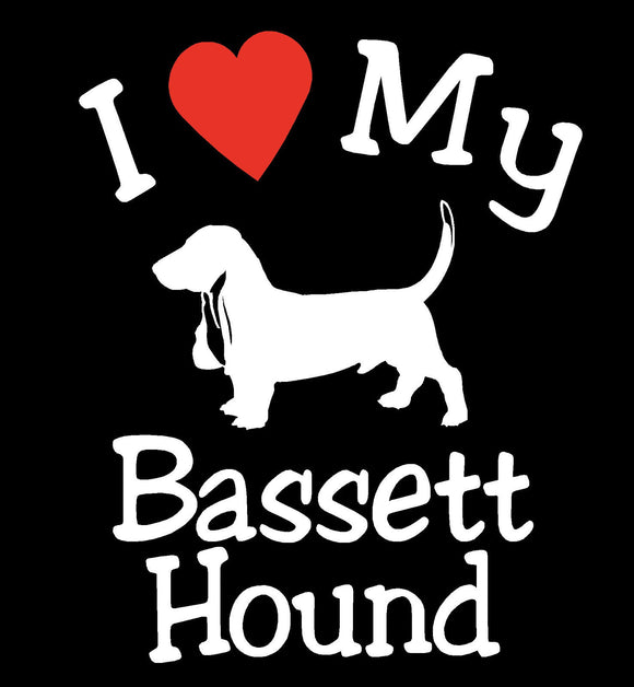 NEW I LOVE MY DOG BASSETT HOUND PET CAR DECALS STICKERS GIFT