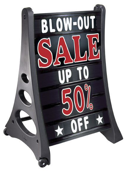 QLA Deluxe Changeable A-Frame Message Sidewalk Sign Street Road Curb Black
