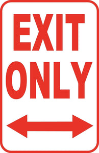 "Exit Only to Left or Right Sign 12"" x 18"" Aluminum Metal Road Street Garage #52"
