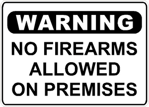 "Warning No Firearms Allowed Sign Security Business Aluminum Metal 14"" x 10"" #27"